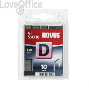 Punti tipo D 53F/10 mm per fissatrici Novus J17, J27 silver - Conf da 1200 pezzi - H205350