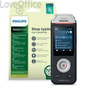 Registratore vocale digitale PHILIPS VoiceTracer 2810 NERO DVT2810
