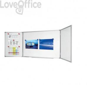 Lavagna bianca magnetica cancellabile Legamaster Economy plus 3 pannelli bianco 90x120-240 cm