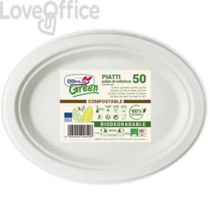 Piatti monouso biodegradabili Dopla Green - ovali polpa di cellulosa bianco - 7705 (conf.50)