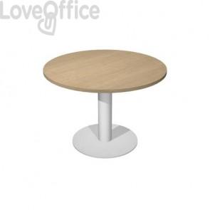 Tavolo riunione con gamba metallo Artexport Flex Ø 100 cm rovere/grigio alluminio
