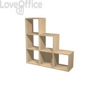 Libreria componibile Artexport Maxicolor - 6 caselle scalare Rovere 6DMaxC-C