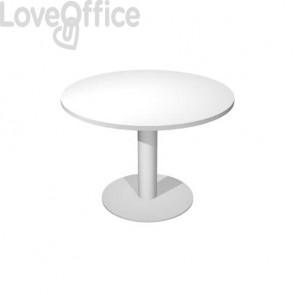 Tavolo riunione con gamba metallo Artexport Flex Ø 120 cm bianco/grigio