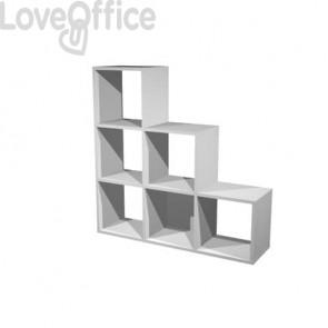 Libreria componibile Artexport Maxicolor - 6 caselle scalare Grigio alluminio 6DMaxC-5