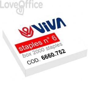 Punti metallici per cucitrici Viva 6/4 passo 6 mm argento - 6660.752 (conf. da 2000)