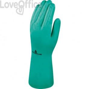 Guanto da lavoro Delta Plus Nitrile floccato cotone 33 cm verde taglia 7 - VE801VE07