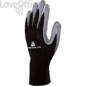Guanto da lavoro Delta Plus in maglia di poliestere e palmo in nitrile nero-grigio taglia 7 - VE712GR07