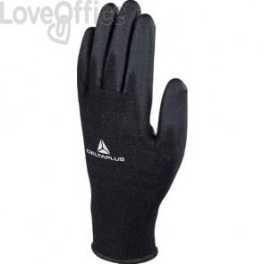 Guanto da lavoro Delta Plus in maglia di poliestere con palmo in poliuretano nero taglia 7  conf. 12 pezzi - VE702PN07