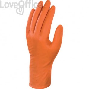 Guanti monouso Delta Plus Veniplus arancio 27 cm nitrile non talcato taglia 7/8  Conf. 50 pezzi - V150007