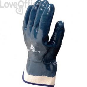 Guanto da lavoro Delta Plus rivestito nitrile manichetta tela 6 cm blu taglia 9 - NI17509