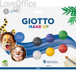 Set di 6 ombretti cosmetici GIOTTO bianco, rosso, nero, giallo, verde, blu 476200