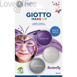 Tris ombretti cosmetici metallici GIOTTO viola metallizzato, bianco metallizzato, argento - 475800