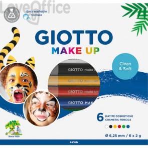 Set di 6 matite cosmetiche GIOTTO bianco, rosso, nero, giallo, verde, blu 474000