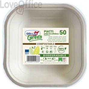 Piatti quadri Polpa - 175x175 mm Dopla Green bianco 50 pezzi - 7798