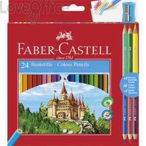 Matite colorate Faber-Castell Eco Il Castello Conf. 24 + 3 Bicolor - 110324