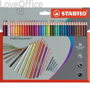 Matite colorate acquerellabili Stabilo aquacolor® astuccio in cartone assortiti Conf. 36 pezzi - 1636-7