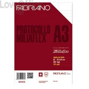 Fogli protocollo Fabriano Miliaflex A3 125 g/m² rigato uso bollo Conf. 200 fogli - 02310125