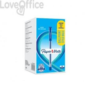 Penne a sfera con cappuccio Paper Mate PM Brite 0,7 mm Blu Conf. 50 pezzi - 2084374