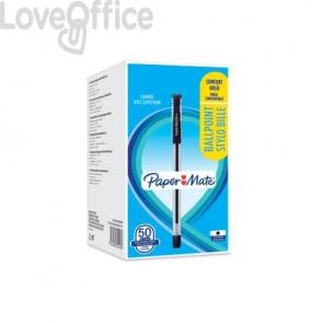 Penne a sfera con cappuccio Paper Mate PM Brite 0,7 mm Nero Conf. 50 pezzi - 2084418
