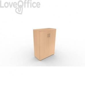Mobile a due ante in legno - 2 ripiani DELLA ROVERE Kompas 90x45x127 cm faggio D203607