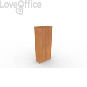 Mobile a due ante in legno - 4 ripiani DELLA ROVERE Kompas 90x45x210,5 cm noce D202707 + D202729S