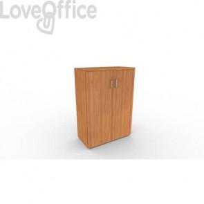Mobile a due ante in legno - 2 ripiani DELLA ROVERE Kompas 90x45x127 cm noce D202607