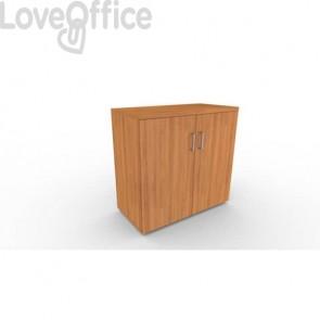 Mobile a due ante in legno - 1 ripiano DELLA ROVERE Kompas 90x45x86,5 cm noce naturale - D202603