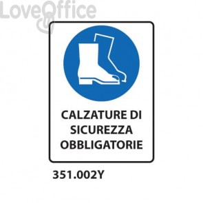 """Cartello di obbligo """"Obbligatorio usare calzature di sicurezza'' 33x50 cm - 351.002Y"""