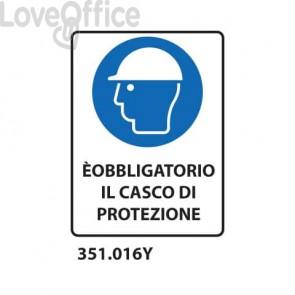 """Cartello di obbligo """"Obbligatorio usare casco di protezione'' 33x50 cm - 351.016Y"""