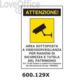 """Cartello di avviso """"Area sottoposta a videosorveglianza'' 20x30 cm - 600.129X"""