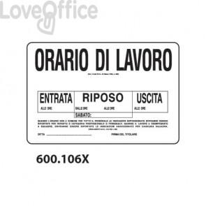 """Cartello informativo """"Orario di lavoro""""  30x20 cm - 600.106X"""