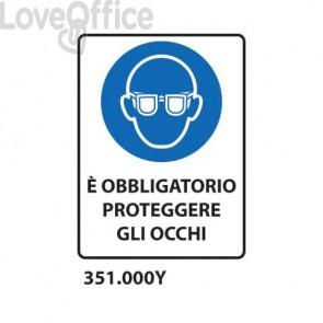 """Cartello di obbligo """"Obbligatorio proteggere gli occhi'' 33x50 cm - 351.000Y"""