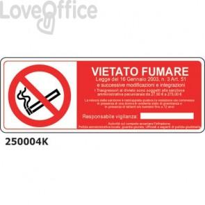 """Cartello di divieto """"Vietato fumare"""" 33x12,5 cm Conf. 15 pezzi - 250004K"""