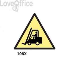 """Cartello """"Pericolo carrelli elevatori""""  108X"""