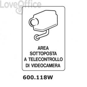 """Cartello di avviso """"Area sottoposta a telecontrollo di videocamera'' 600.118W"""