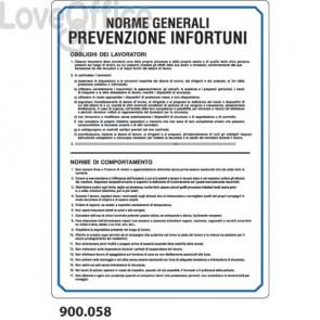 """Cartello informativo """"Norme generali prevenzione infortuni'' 33x47 cm - 900.058"""
