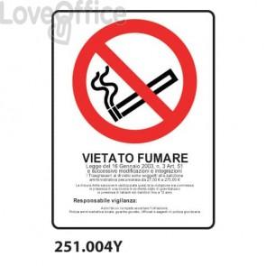 """Cartello di divieto """"Vietato fumare"""" 30x55 cm - 251.004Y"""