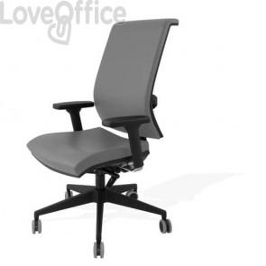Sedia con ruote in pelle grigia - Unisit Galatea GTJE schienale in rete - braccioli opzionali - GTJE/PT