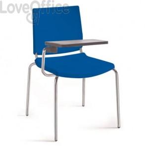 Sedia a 4 gambe con tavoletta Collettività Unisit blu ATT/BL