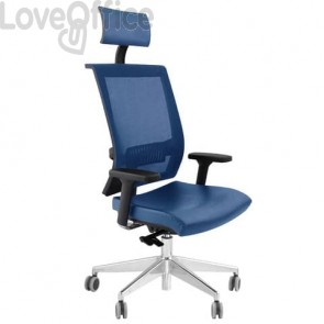 Poltrona girevole da ufficio blu - Unisit Galatea GTPG con poggiatesta - ignifugo - schienale in rete - GTPG/IB