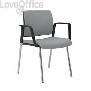 Sedia gambe metallo in pelle grigia Unisit Kind - con braccioli - KI4GNBR/PT
