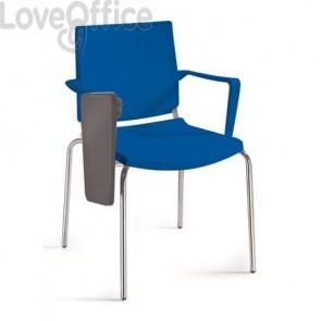Sedia a 4 gambe con tavoletta e bracciolo Collettività Unisit nero ATBRT/NE