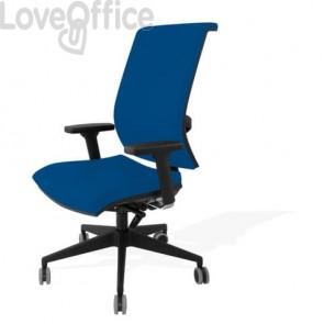 Sedia con ruote blu - Unisit Galatea GTJE schienale in rete - fili di luce - braccioli opzionali - GTJE/F11