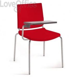 Sedia a 4 gambe con tavoletta Collettività Unisit rosso ATT/RO