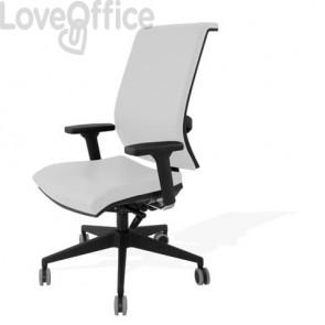 Sedia con ruote in pelle bianca - Unisit Galatea GTJE schienale in rete - braccioli opzionali - GGTJE/PQ