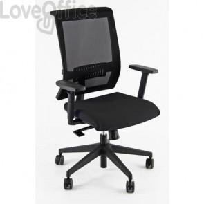 Sedia girevole in pelle nera con braccioli - Unisit Galatea GTJE schienale in rete - GTJE/BR/PN