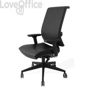 Sedia con ruote in pelle nera - Unisit Galatea GTJE schienale in rete - braccioli opzionali - GGTJE/PN