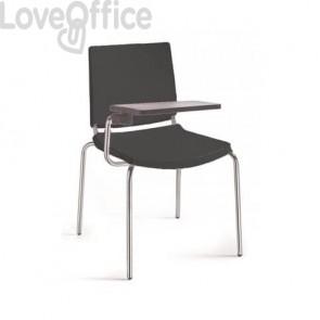 Sedia a 4 gambe con tavoletta Collettività Unisit nero ATT/NE