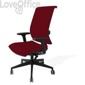 Sedia con ruote bordeaux - Unisit Galatea GTJE schienale in rete - ignifugo - braccioli opzionali - GTJE/ID