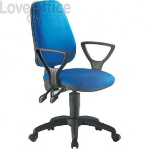 Sedia girevole per scrivania Unisit Leda Eco smart - schienale alto rivest. ignifugo blu - con braccioli LDAY/BR/IB